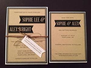 modern simple kraft wedding invitation set invite save With wedding invitation rsvp due date