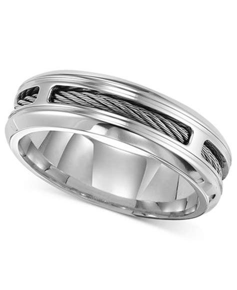 triton s stainless steel ring comfort fit cable wedding band rings jewelry watches