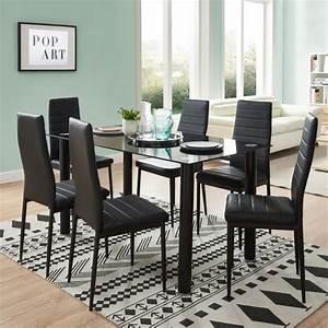 Table et chaises achat vente table et chaises pas cher for Meuble salle À manger avec chaise salle a manger noir pas cher
