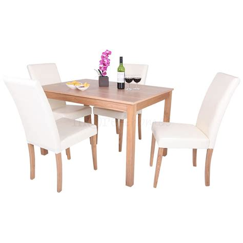oakden oak veneer dining table and 4 x leather high