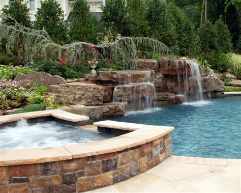 spa pool landscaping swimming pool waterfall designs home decorating ideas