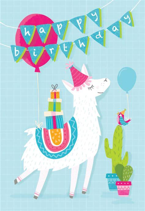 Llama Birthday Cards Printable
