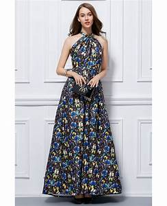 fashionale a line halter floral print long wedding guest With halter dress for wedding guest