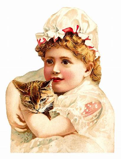 Victorian Cat Child Clipart Holding Cats Antique