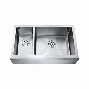 33 inch stainless steel smooth flat front farmhouse apron With 30 inch double bowl apron sink