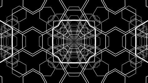 black  white geometric pattern  tunnel  animated
