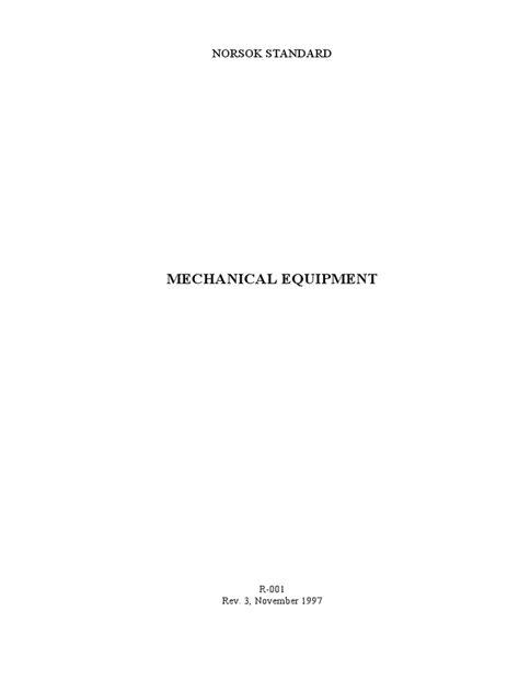 Standard Norsok Standard R 001 for Mechanical Eqpt
