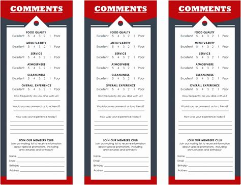 restaurant comment card template vrtwi templatesz