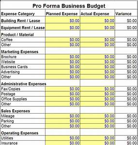 pro forma business budget template pro forma business With corporate budget template excel