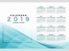 stylish blue 2019 calendar design Download Free Vector