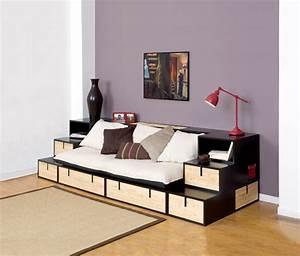 banquette brick bambou sofa canape meuble contemporain With canapé lit gain de place