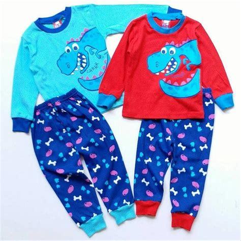 jual piyama baju tidur anak bayi laki cowok dino merah