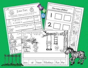 zoo animals  kindergarten science literacy  math