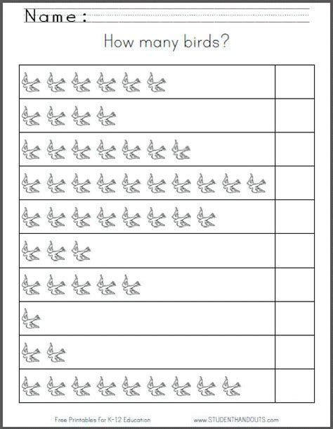 how many birds free printable 1 10 counting worksheet for kindergarten and grade