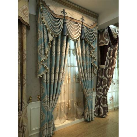 Note Bedroom Curtains by Blue Damask Embroidery Chenille Thermal Vintage Curtains