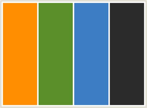 blue and green color schemes colorcombo162 with hex colors ff8f00 5a8f29 3c7dc4 2b2b2b