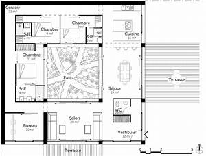 plan maison a toit plat avec patio ooreka With wonderful type de toiture maison 8 plan maison moderne en u ooreka