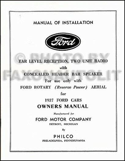 ford radio owners manual  installation book philco