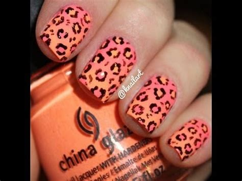 diy cute neon ombre nails  leopard print  tools