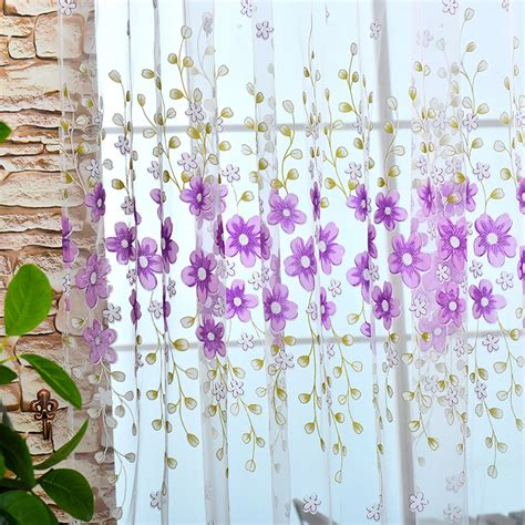 vogue new flowers home room kitchen sheer cafe curtain