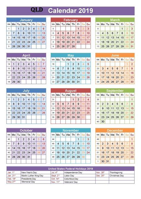 calender  qld holidays  printable calendar