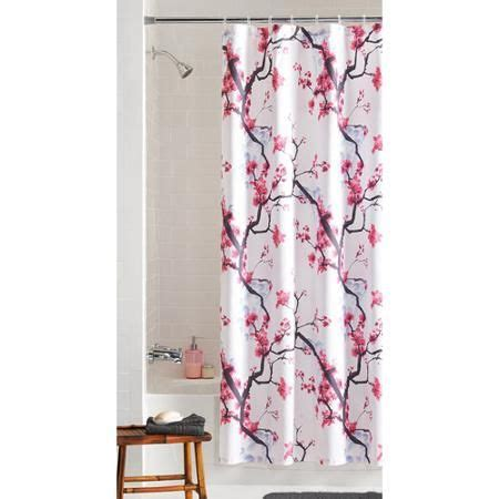 cherry blossom curtain panels mainstays pink blossom fabric shower curtain cherries
