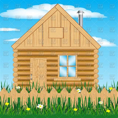 Cabin Clipart Log Cabin And Wooden Fence Summer House Vector Image