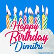 Happy Birthday GIF for Dimitri with Birthday Cake and Lit ...