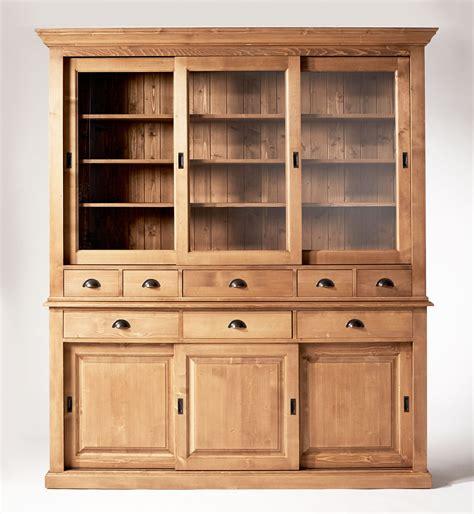 tabouret d ilot de cuisine vaisselier ciré miel 6 portes coulissantes 8 tiroirs made in meubles