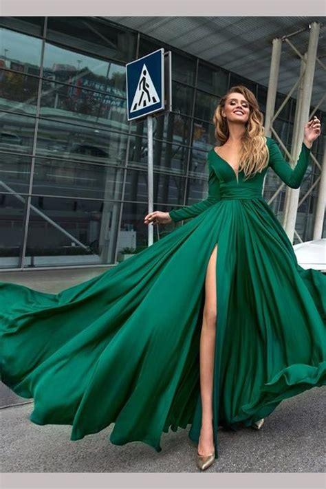 sexy green deep  neck long sleeves floor length prom