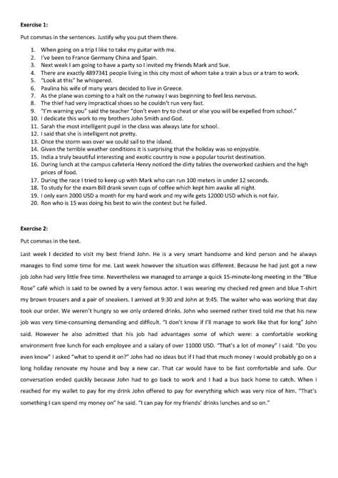 commas exercises