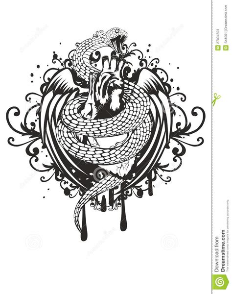 snake bird tattoo pattern cartoon vector cartoondealer