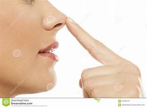 Woman Touching Her Nose Stock Image  Image Of Corrective