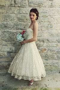 1950s Tea Length Wedding Dress / Vintage Antique Ivory ...