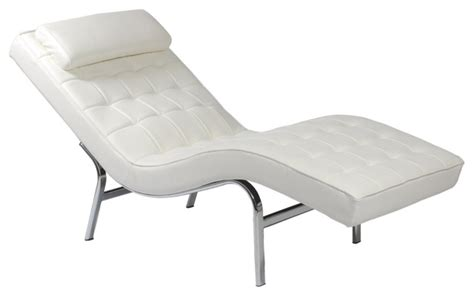 valencia lounge chair white leather chrome modern