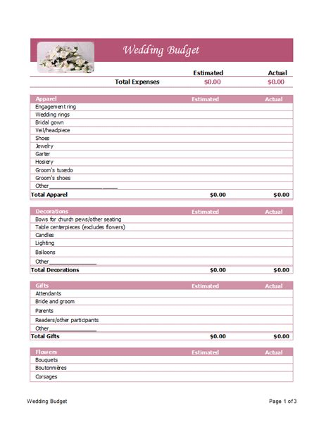 wedding budget planner microsoft office template