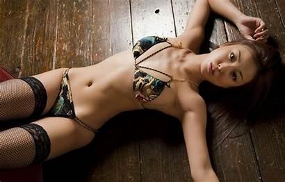 Asian Brunette Yashiro Minase Lingerie Stockings Wallpapers
