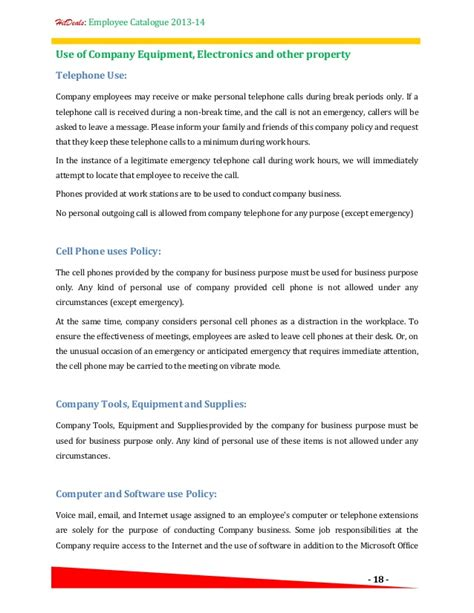 company theft policy template hr policy employee catalogue a template for your company