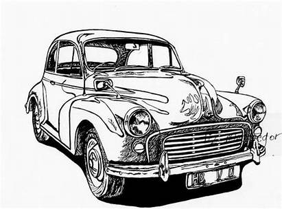 Classic Morris Minor Drawing Cars Limited Edition