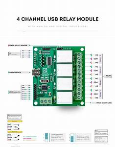 4 Channel Usb Relay Module With Gpio And Analog Inputs