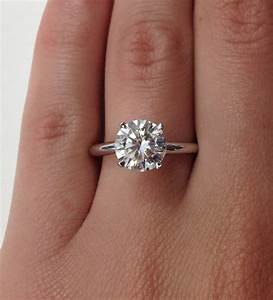 wedding rings 2 carat diamond solitaire ring on hand 2 With average wedding ring carat