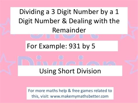 Short Division 3 Digit By 1 Digit (with Remainder