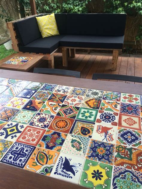 mexican tile coffee table diy mexican tile timber table and pallet day bed giving
