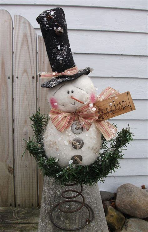 primitive country snowman tree topper 2585 best images about snowmen on
