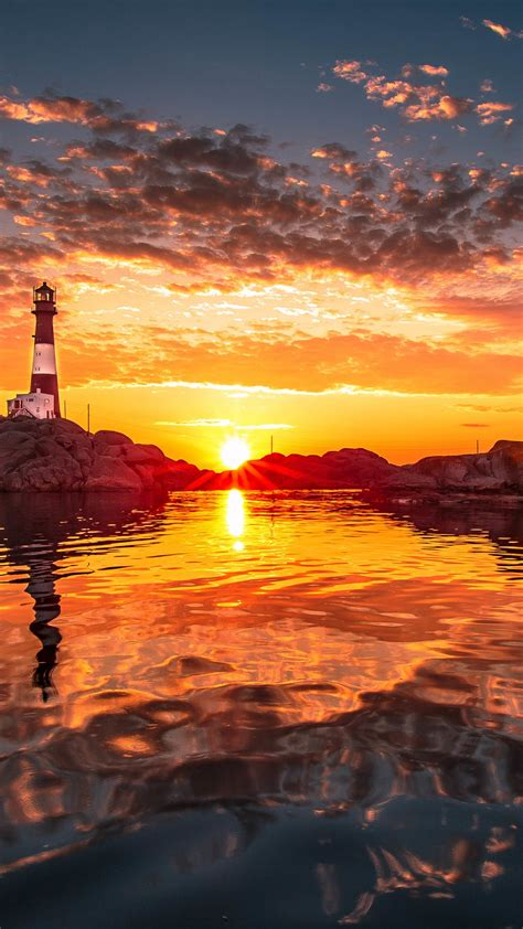 wallpaper sunset lighthouse beach stones  nature