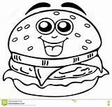 Coloring Cheeseburger Burger Drawing Template sketch template