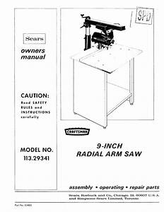 1972 Craftsman 113 29341 9 U0026quot  Radial Arm Saw Owner U0026 39 S Manual