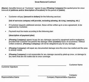 snow removal contract template With snow removal contract template free