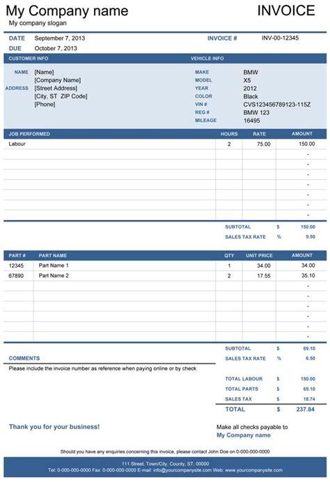 vehicle repair invoice invoice template invoice