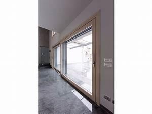Porta finestra scorrevole complanare in alluminio e legno con triplo vetro PASSIVE 120 Porta